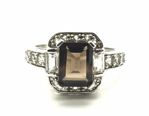 Sterling Silver 925 Emerald Cut Smoky Topaz CZ Cluster Cocktail Band Ring 6.75 $30.80
