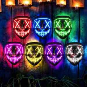 Halloween LED Mask Clubbing Light Up Costume Rave Cosplay Party Purge 3 Modes $11.88
