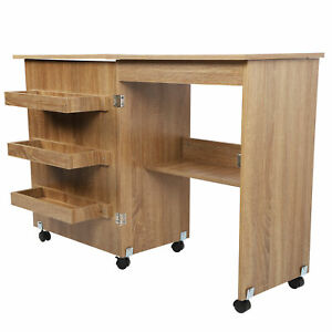 Folding Sewing Table Shelves Storage Cabinet Large Craft Cart W 2 Wheels Brown $125.14