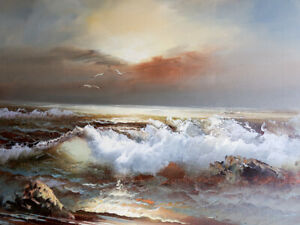 Vintage CLAUDE TERRY Oil Painting on Canvas Seascape Sea Ocean Signed $129.00
