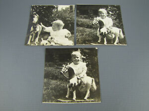 3 Small Antique Photographs Adorable Baby Girl Plays w Toy Horse in Yard $5.95