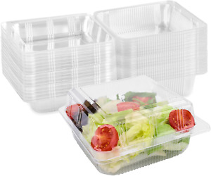 50Pack Clear Plastic Square Hinged Food Containers Disposable Food Containers w $25.40