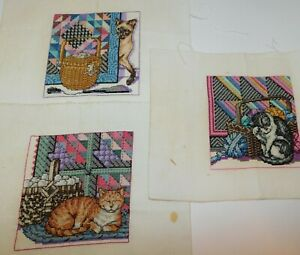 3 Finished Cross Stitch CATS amp; QUILTS Sewing Baskets 5 1 2quot; $59.50