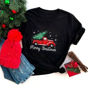 Vintage Red Truck With Merry Christmas Tree T Shirt $21.84