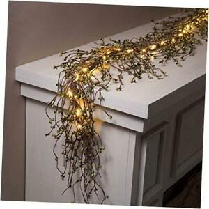Pip Berry Garland for Mantle Decor 6 Ft Lighted Grapevine with Emerald Green $76.23