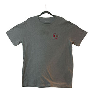 Under Armour XL Mens Gray Heat Gear Loose Fit USA Flag Freedom Crew Neck T Shirt $19.99