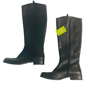Gianni Bini Womens Boots Tall Leather Riding Boots Wide Calf Black Size 10