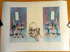 REINER SCHWARZ ELECTRIC CHAIR * ORIGINAL COLOR LITHOGRAPH HAND SIGNED DATED $96.75