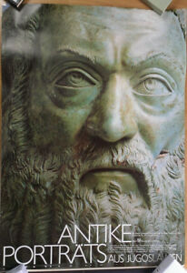 GERMAN OFFICIAL EXHIBITION POSTER 1988 ANTIQUE PORTRAITS FROM YUGOSLAVIA * ART $51.75