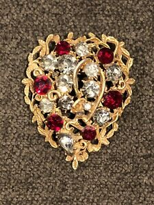 Vintage Signed Coro Gold Tone and Rhinestone Heart Brooch $25.00