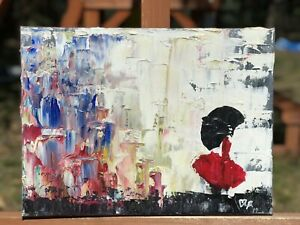 Oil Painting IMPRESSIONISM CONTEMPORARY Woman With Red UMBRELLA SIGNED $75.00