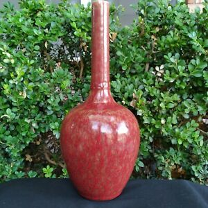 Antique Chinese Red Porcelain Tall Neck Bottle Vase 19th Century Marked $139.00