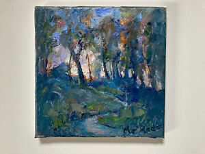 Original Oil Painting Trees Nocturnal October Twilight Hudson Valley New York. $63.95