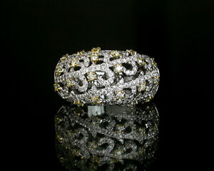 Rose Vine - Fine Diamonds & Yellow Diamonds 18K(750) White Gold  Design Ring