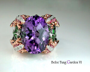 Garden - 18K(750) Rose White Gold Amethyst Diamond Gorgeous Design Ring
