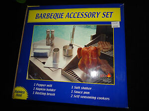 GLO MASTER STAINLESS STEEL 7 PC BARBEQUE ACCESSORY SET FREE PRIORITY MAIL SHIP