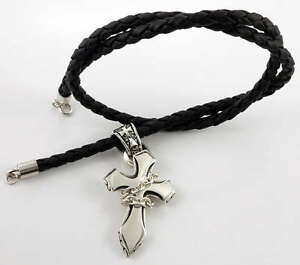 CROSS 925 STERLING SILVER PENDANT GENUINE LEATHER MENS CHAIN NECKLACE BIKER NEW