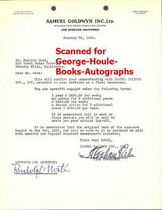 RUDOLPH MATE SIGNED CONTRACT GOLDWYN DIRECTOR $1500.00
