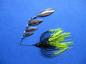 38 oz Quad Spinner Bait R BLChart tip bass musky pike jig tackle fishing lure