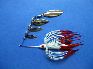 38 oz Quad R SpinnerBait WHITERED TIP bass musky pike jig tackle fishing lure