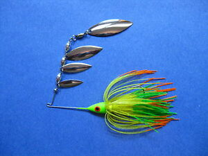 38 oz Quad R SpinnerBait CHARTORALIME TIP bass musky pike tackle fishing lure