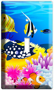 TROPICAL SEA EXOTIC CORAL RIFF COLORFUL FISH SINGLE LIGHT SWITCH WALLPLATE COVER $10.99