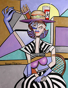 LADY WITH A LUNCH HAT ORIGINAL PAINTING CUBESTRACTION FOOD BURGER ANTHONY FALBO