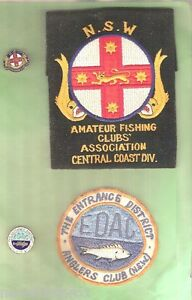 #D14. FOUR OLD FISHING CLOTH PATCHES amp; BADGES