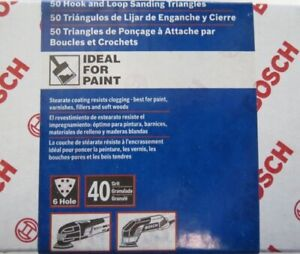 Bosch SDTW041 40 Grit Detail Sanding Triangles White, 50-Pack Italy