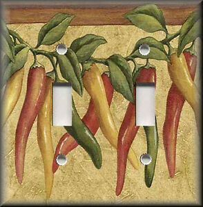 Metal Light Switch Plate Cover - Chile Peppers Decor Southwestern Kitchen Decor