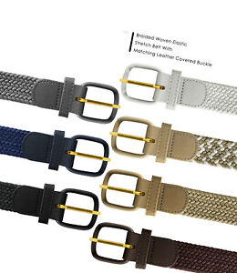 7001 Men's Leather Covered Buckle Woven Elastic Stretch Belt 1-1/4