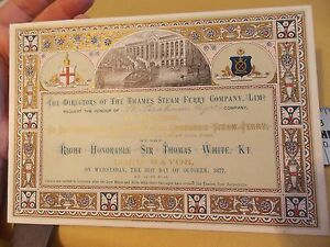 1877 6 x 9 London Thames Steam Ferry Co WAPPING OPENING TICKET RARE!!!!!