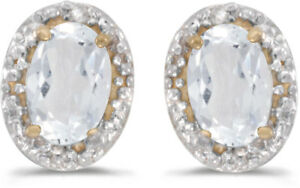 14k Yellow Gold Oval White Topaz And Diamond Earrings (CM-E2615X-04)