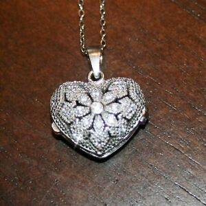 Diamond Alternatives Heart Locket Pendant Necklace 14k White Gold over 925 SS