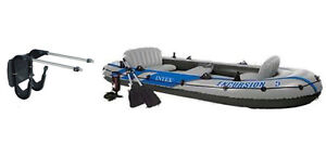Intex Excursion 5 Inflatable Rafting and Fishing Boat with Oars Motor Mount