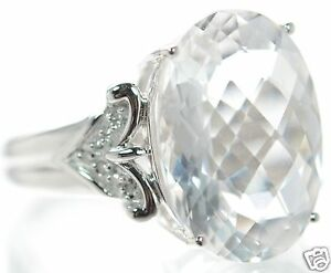 Solid 925 Sterling Silver Genuine 8.9CT Oval White Topaz Ring Size-8 '