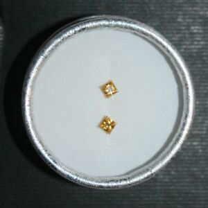 Canary Yellow Princess Cut Diamond Alternatives 4mm Stud Earrings Solid 14k Gold