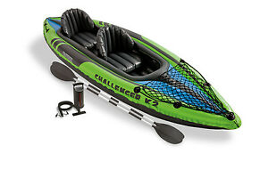 Intex Challenger K2 Kayak 2 Person Inflatable Raft Boat Set with Oars and Pump
