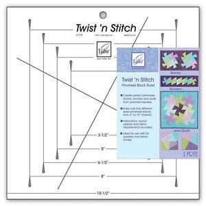 Twist #x27;n Stitch Pinwheel Block Ruler by June Tailor JT 775 $27.95