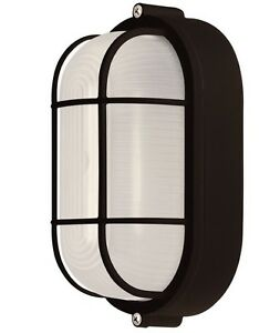All Weather Outdoor Bulkhead Oval Light Marine Exterior Lighting Black