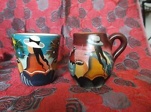 Hand Painted Pisac Peru Pottery Sugar amp; Creamer Artist signed Iturriaga Andes