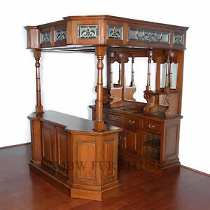 6.5Ft Wide Solid Mahogany English Canopy Pub Bar w Stained Lead Glass  (so)