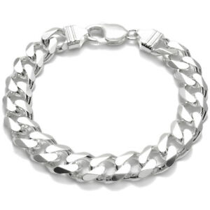 925 Sterling Silver Men's Solid Cuban Curb Link Chain Bracelet 11mm (300 Gauge)