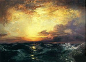 Oil Thomas Moran Pacific Sunset with huge ocean waves stunning seascape canvas $69.99