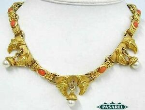 Masterpiece 18k Yellow Gold Coral & Pearl Designer Necklace