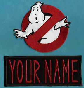 ADULT size Ghostbusters No Ghost 1 amp; Custom Name Tag Patch Set iron on style