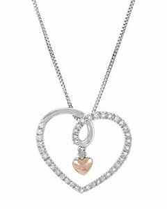 Silver14KT Pink Gold Genuine Diamond