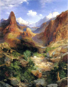 Oil Thomas Moran Bright Angel Trail landscape with mountains free shipping art $69.99