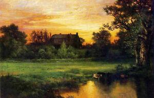 Oil Thomas Moran East hampton with cows drinking water amp; house at sunset dusk $69.99