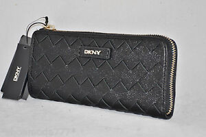 $118 DKNY Fashion Woven Leather Classic Wallet Purse Organizer Black New
